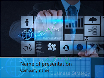 Businessman hand working with new modern computer and business strategy as concept PowerPoint Template