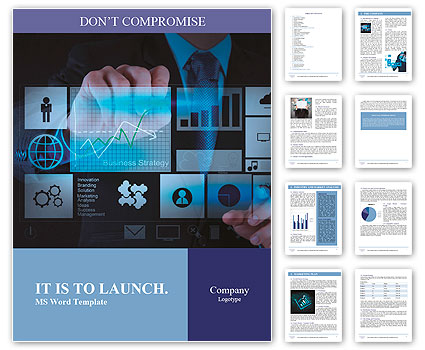 Businessman hand working with new modern computer and business strategy as concept Word Template