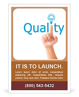 Hand and word quality. - business concept isolated on white background Ad Template