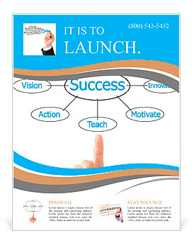 Hand pointing plan success flow chart Flyer Template