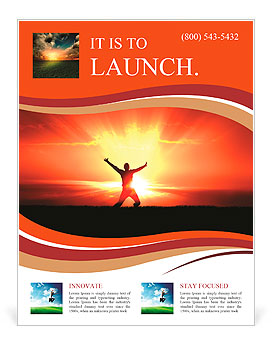 Man Jumping in Sun Rays Flyer Template