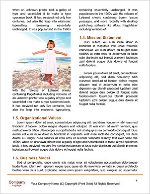 Kid on beach in sand playing, people around, summer hot nice time Word Template - Page 4