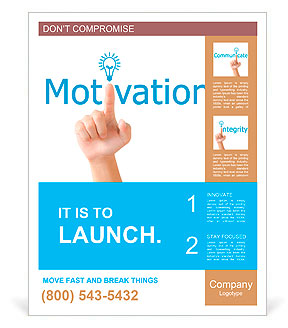 Hand and word motivation. - business concept isolated on white background Poster Template