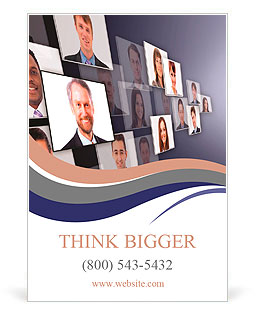 Many the isolated portraits of people Ad Template