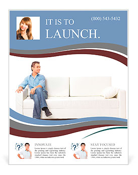 Portrait of the young man in white on sofa Flyer Template