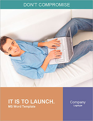 Portrait of a man relaxing on couch while using a laptop Word Template - Page 1
