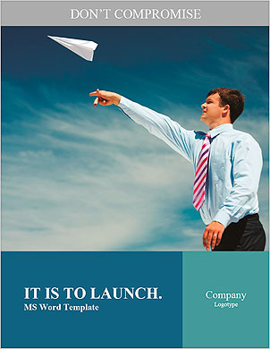 Image of businessman letting paper airplane fly and looking at it on background of blue sky Word Template - Page 1