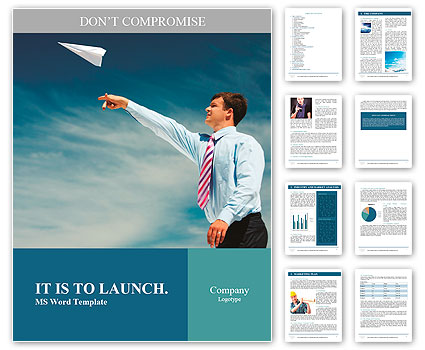 Image of businessman letting paper airplane fly and looking at it on background of blue sky Word Template