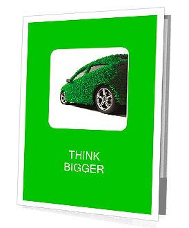 Koncepce ekologické auto - povrch těla je pokryt s realistickou trávu Prezentační složky