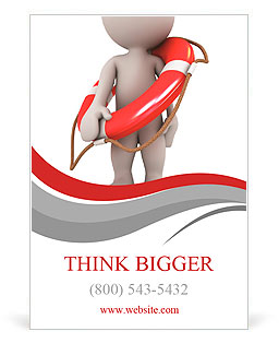 3d human with life preserver. 3d illustration. Ad Template