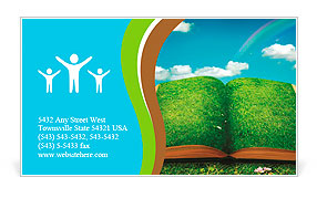 Open magic book of nature Business Card Template