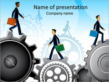 Illustration Of Business People Moving On Gear Stock Vector Illustration Powerpoint Template Infographics Slides