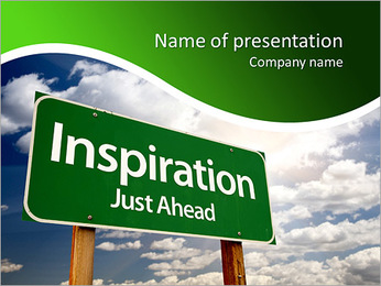 Inspiration Green Road Sign Against Clouds and Sunburst. PowerPoint Template