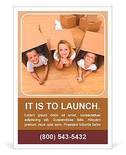 Family in a new home with cardboard boxes - having fun on the floor Ad Template