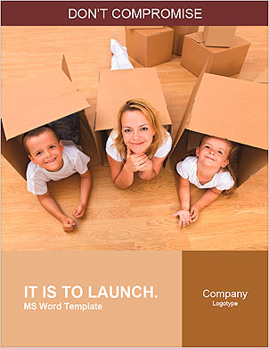 Family in a new home with cardboard boxes - having fun on the floor Word Template - Page 1
