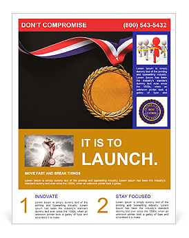 Gold medal on black with blank face for text, concept for winning or success Flyer Template