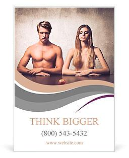 美丽的情侣与苹果在他们面前 广告模板