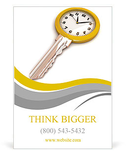 Clock-Key. Concept of Successful time management or other. 3d illustration. Ad Template