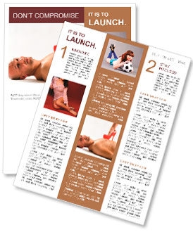 A naked man lying on the floor while a woman steps on his chest with a red stiletto Newsletter Template