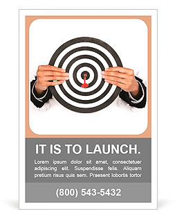 Businessman hand breaking through a paper wall holding a dart board Ad Template