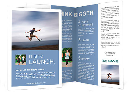 Sport and energy concept - athletic man running fast Brochure Template