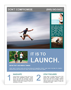 Sport and energy concept - athletic man running fast Flyer Template