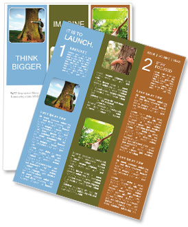 Love nature, woman hugging huge tree trunk Newsletter Template