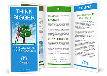 Managing your money and debt management with a business man on a ladder taking care of a tree that i Brochure Template