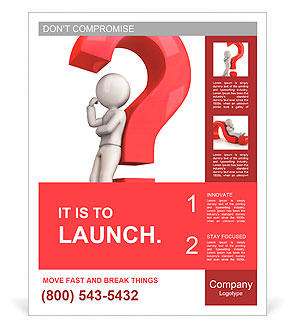 3d white people leaning back against a red question mark, isolated white background, 3d image Poster Template