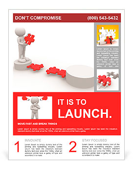 3d people - men, person and last piece of puzzle - jigsaw. Flyer Template