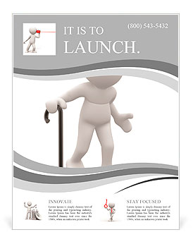3d people - human character , person supported by a stick. Grandfather . 3d render Flyer Template