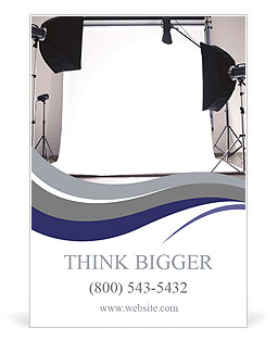 Empty photo studio with lighting equipment Ad Template