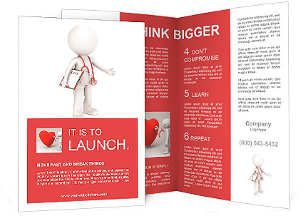 An apple a day. 3D little human character The Doctor, holding an Apple. People series. Brochure Template