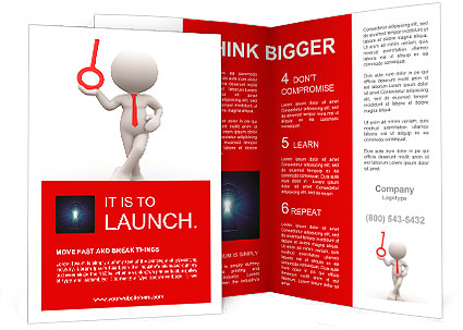 3d people - men, person with a key. Concept of solution. Brochure Template
