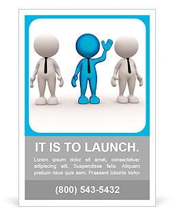3d people - men, person in group. Leadership and team Ad Template