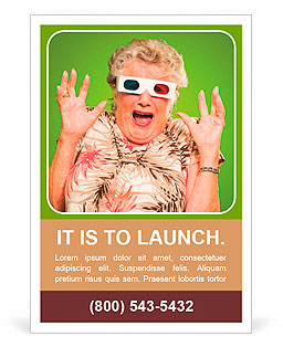 Afraid Senior Woman Wearing 3d Glasses Isolated On Green Background Ad Template