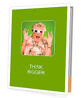 Afraid Senior Woman Wearing 3d Glasses Isolated On Green Background Presentation Folder