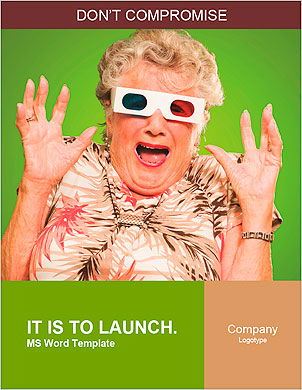 Afraid Senior Woman Wearing 3d Glasses Isolated On Green Background Word Template - Page 1