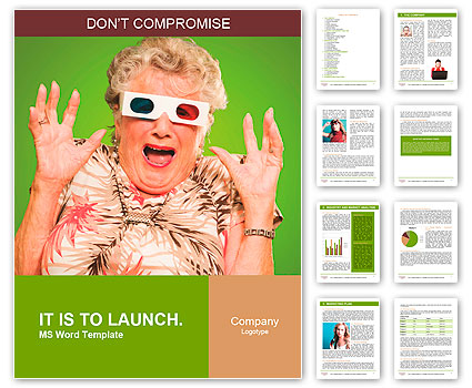 Afraid Senior Woman Wearing 3d Glasses Isolated On Green Background Word Template