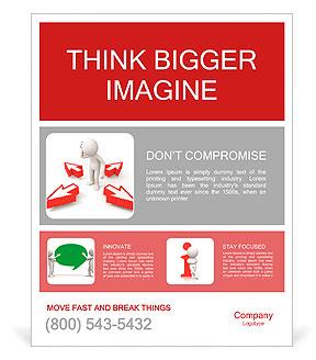 Arrow / think / vybrat / muž myšlení během čtyř šipek Plakáty