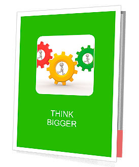 3d people - man, person with briefcase running in gear wheels. Businessman and gear mechanism Presentation Folder