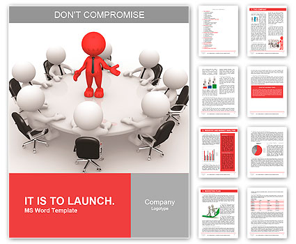 3d people - men, person at conference table. Leadership and team Word Template