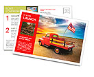 Red vintage pick up truck with American flag in wide open country side with dramatic sunset cloudsca Postcard Template