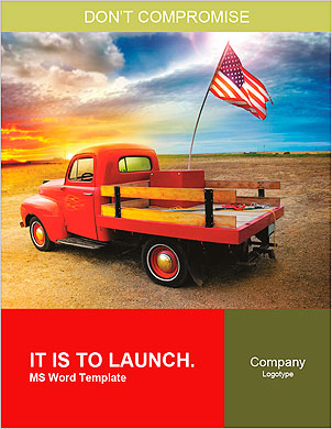 Red vintage pick up truck with American flag in wide open country side with dramatic sunset cloudsca Word Template - Page 1