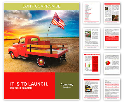 Red vintage pick up truck with American flag in wide open country side with dramatic sunset cloudsca Word Template