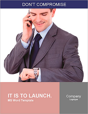 Portrait of a happy young business man checking time while speaking on cellphone Word Template - Page 1