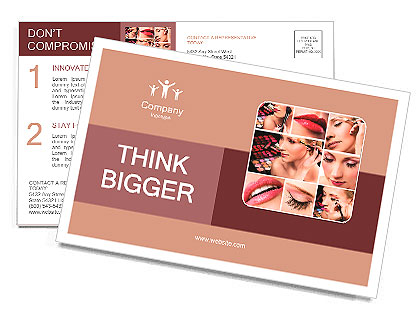 Collage of several photos for beauty industry Postcard Template