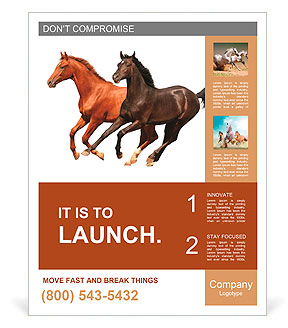 Horses isolated Poster Template