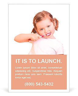 Little girl brushing her teeth isolated on white background Ad Template