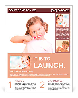 Little girl brushing her teeth isolated on white background Flyer Template